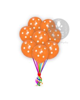 "White and Orange Polka Dots Balloons 12 "" Inch"