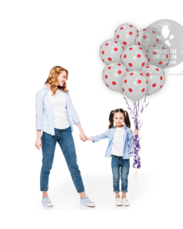 """Red and White Polka Dots Balloons 12 """" Inch"""