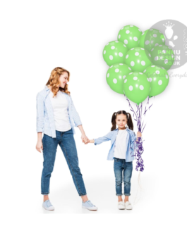 """White and Light Green Polka Dots Balloons 12 """" Inch"""