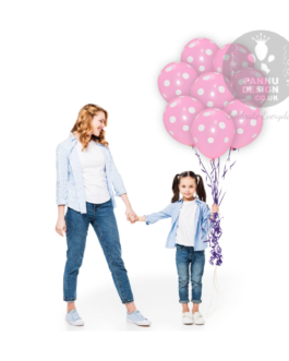 """White and Pink Polka Dots Balloons 12 """" Inch"""