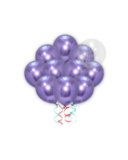 Purple Chrome Balloons Set