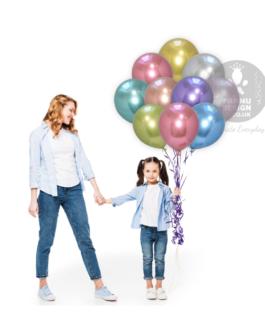 Multicolor Chrome Balloons Set