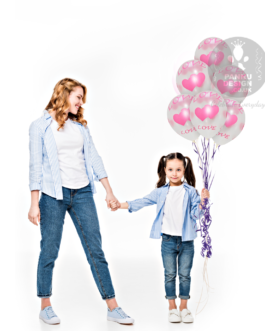 White Latex Plain Balloons with Love and Heart Print
