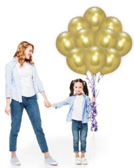 Gold Chrome Balloons Set