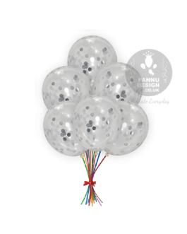"""Silver Confetti Balloons 12"""" inch"""