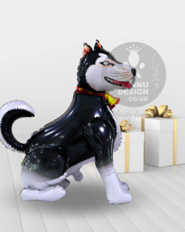 Black Husky Dog Foil Balloon