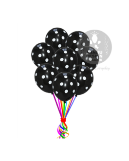 """White and Black Polka Dots Balloons 12 """" Inch"""