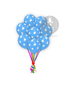 """White and Blue Polka Dots Balloons 12 """" Inch"""