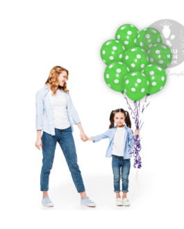 """White and Green Polka Dots Balloons 12 """" Inch"""