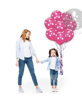 "White and Hot Pink Polka Dots Balloons 12 "" Inch"