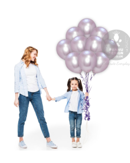 Light Purple Chrome Balloons Set