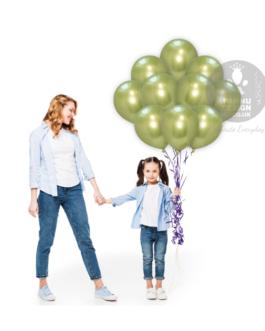 Apple Green Chrome Balloons Set