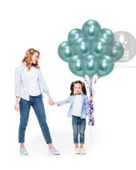 Green Chrome Balloons Set