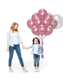 Pink Chrome Balloon Set