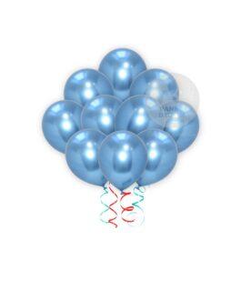 Blue Chrome Balloons Set