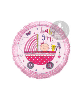 Round Baby Girl Foil Balloon 18″inch